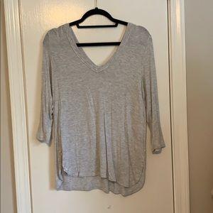 Bordeaux Gray 3/4 Sleeve Double Vneck Shirt